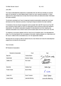 Letter sent to council on Monday 11 June